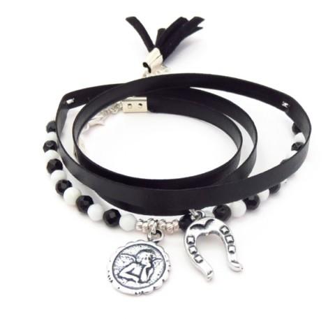 Bracelet en cuir avec pierres Roxanne