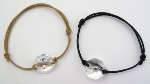 Bracelet cordon cristal Swarovski solitaire