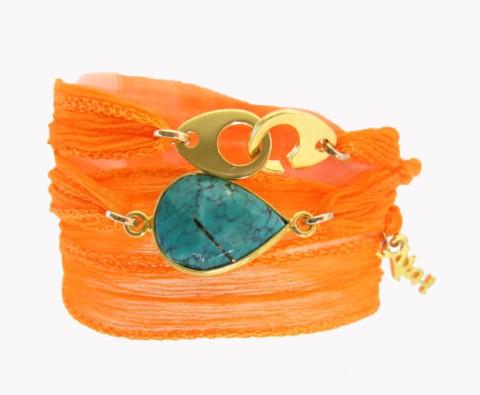 Bracelet en soie Gemma et turquoise